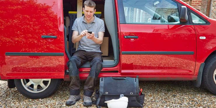Low Tech Sales - Contractor In Van Writing Emails