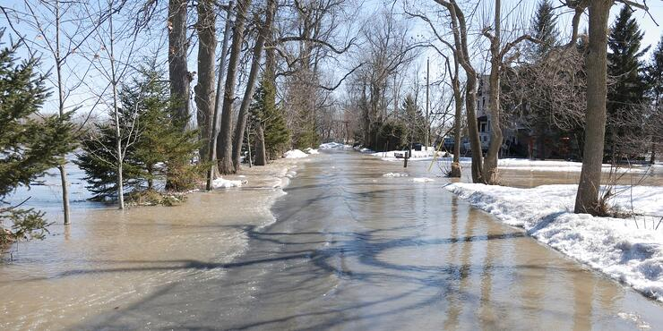 Winter Spring Flooding Streets