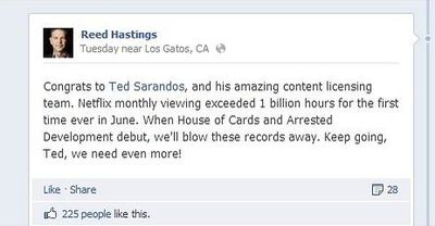 Reed Hastings FB post