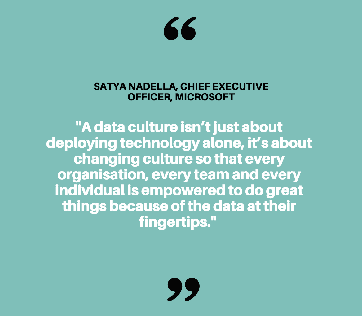 A data culture isn't just about deploying technology alone, it's about changing culture so that every organisation, every team and every individual is empowered to do great things because of the data at their fingertips.