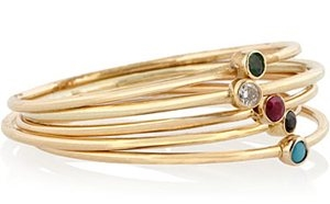 Jennifer Meyer Set of 5 18-karat Gold Stacking Rings
