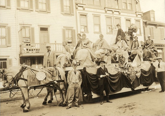 Pennsylvania College for Women suffragette float circa 1914. Photo courtesy University of Pittsburgh Digital Archives.