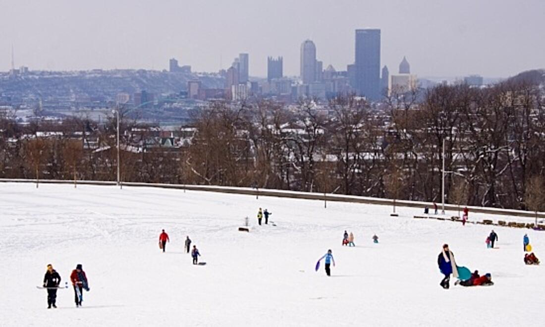 Image of people sled riding in Schenley Park, with the city in the background