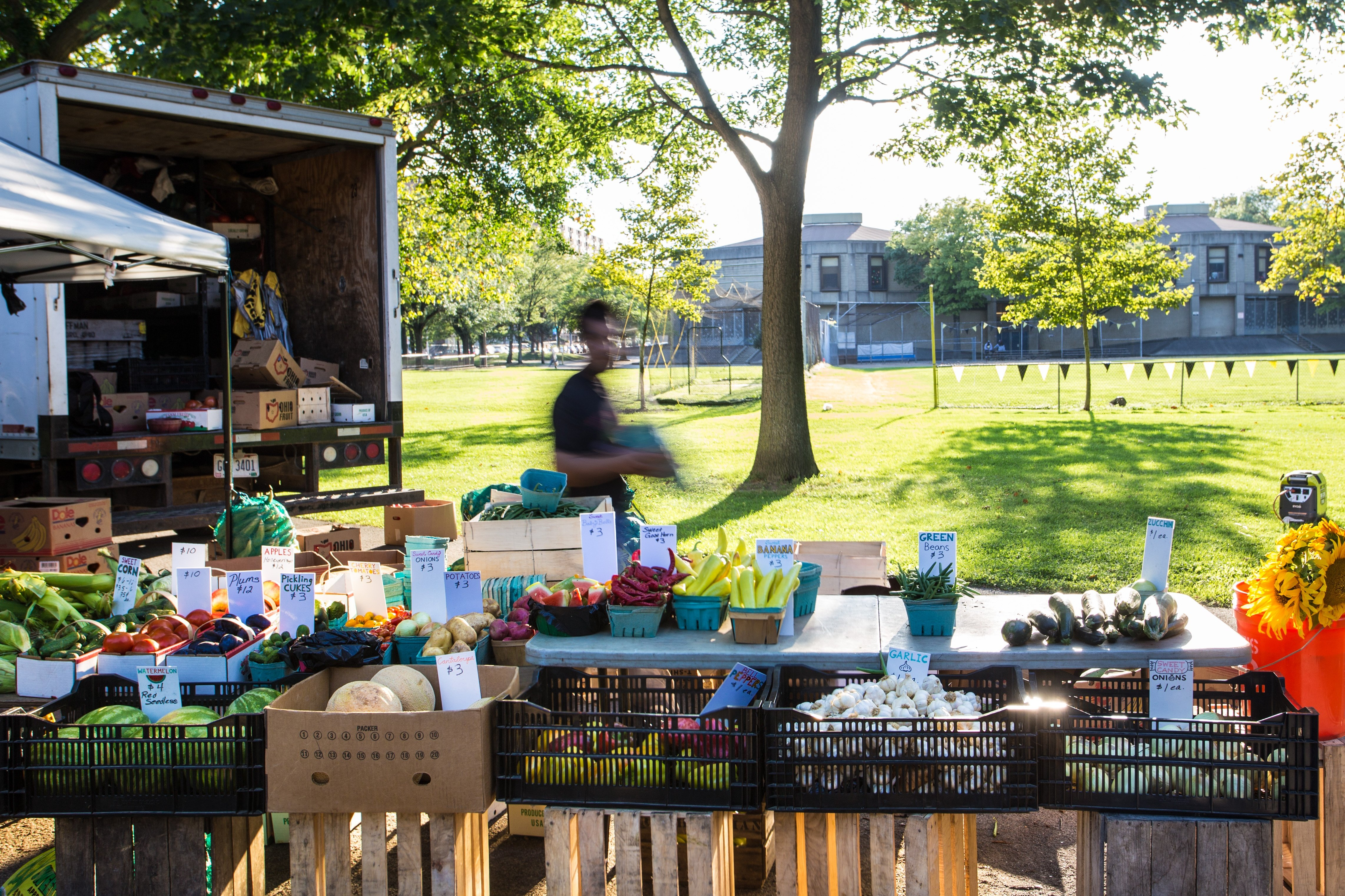 Image of a farmers' market in Allegheny Commons