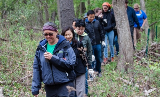 Image of people hiking along a trail