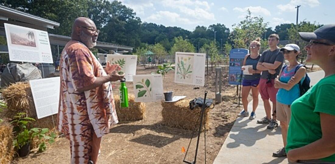 Image of a presentation at the From Slavery to Freedom Garden