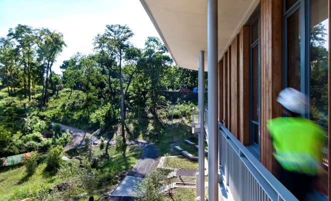 Image of Frick Park from the balcony of the new Frick Environment Center