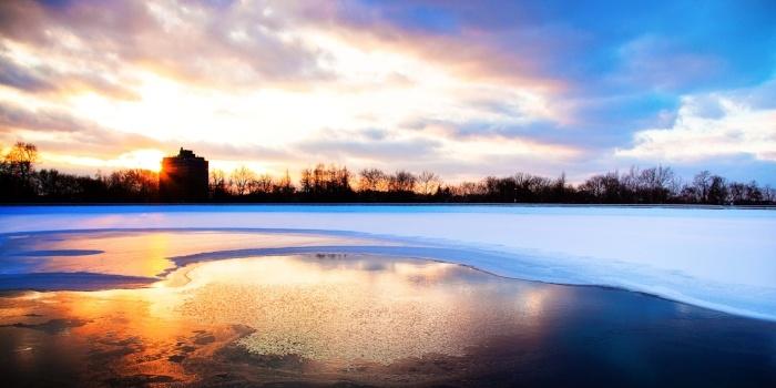 Image of sunset on the Highland Park reservoir