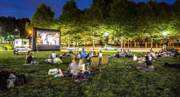 Image of a movie in Schenley Plaza