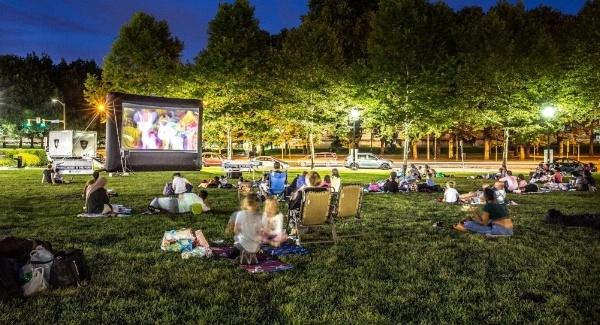 Image of a movie in Schenley Plaza