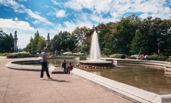 Image of the Highland Park Entry Garden with fountain in summer