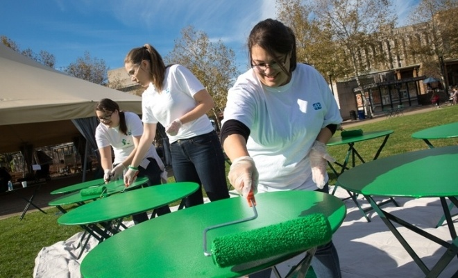 Photo of PPG employees painting tables in Schenley Plaza