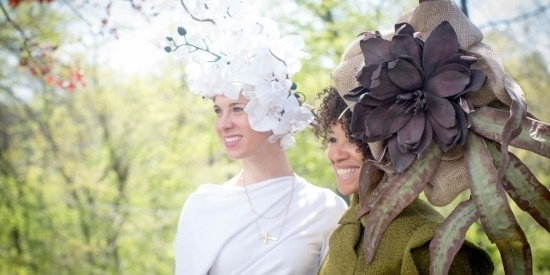 Image of two women in hats at the Hat Luncheon