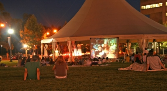 Image of a movie playing in Schenley Plaza