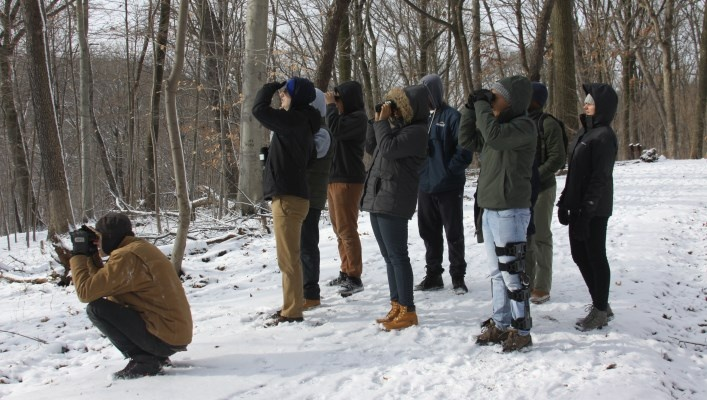 Image of a group of people using binoculars in the park