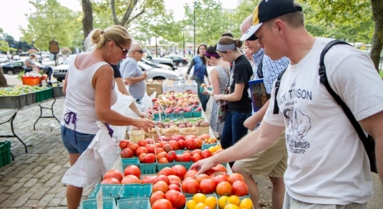 Image of the farmers market in schenley plaza