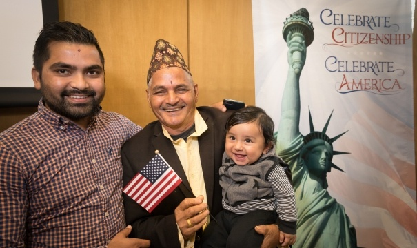 Image of a family at the park naturalization ceremony