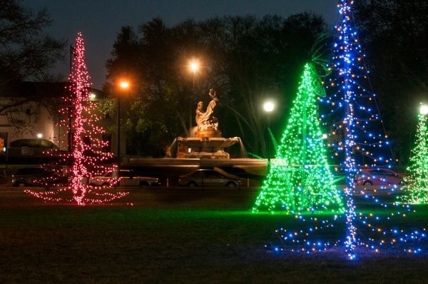 Image of the Mary Schenley fountain surrounded by holiday lights. Photo: Lindsay Dill