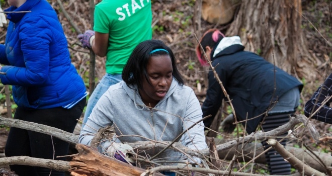 Image of volunteers working with branches and tree limbs