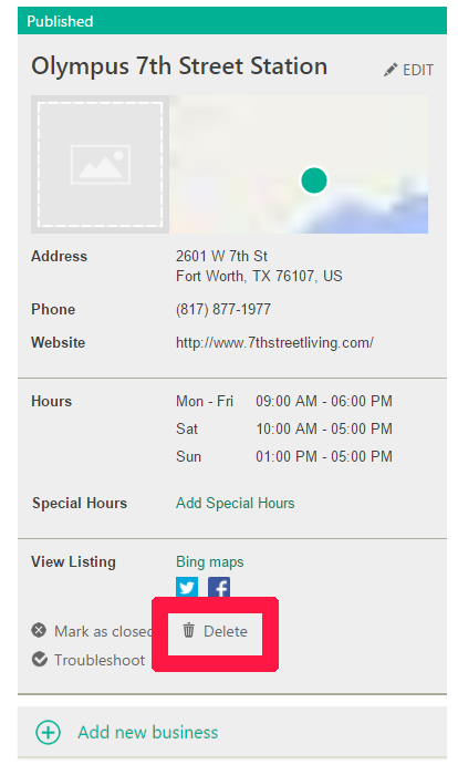 Delete Bing Places Listing