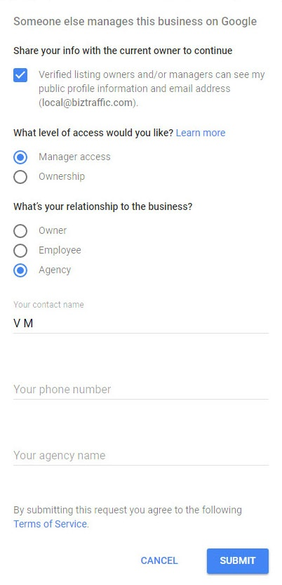 Request Ownership of Listing on Google Plus