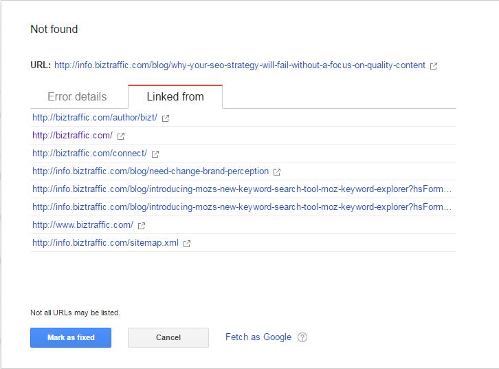 Broken Link Checker, 404 Errors