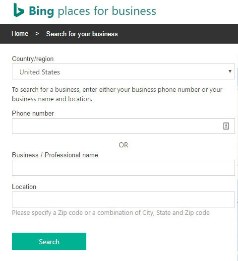 Bing Places Search for Listing