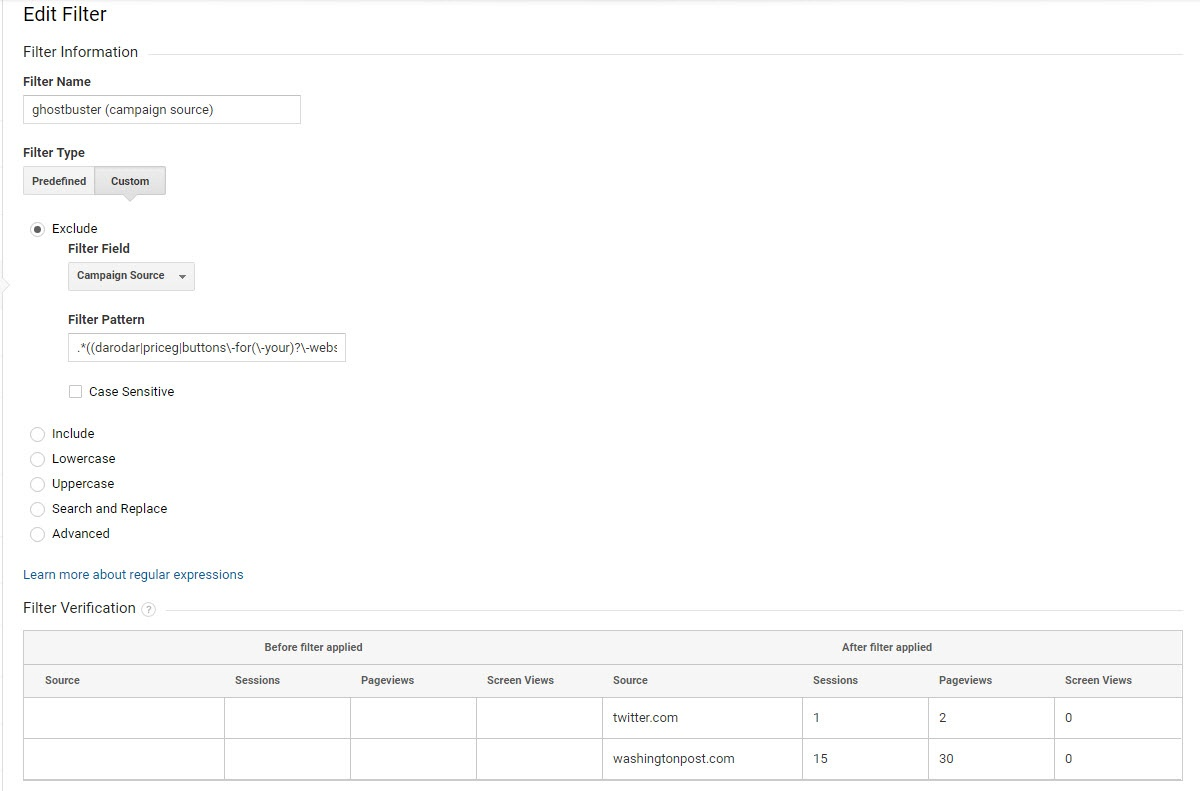 Campaign Source view-filter in Google Analytics