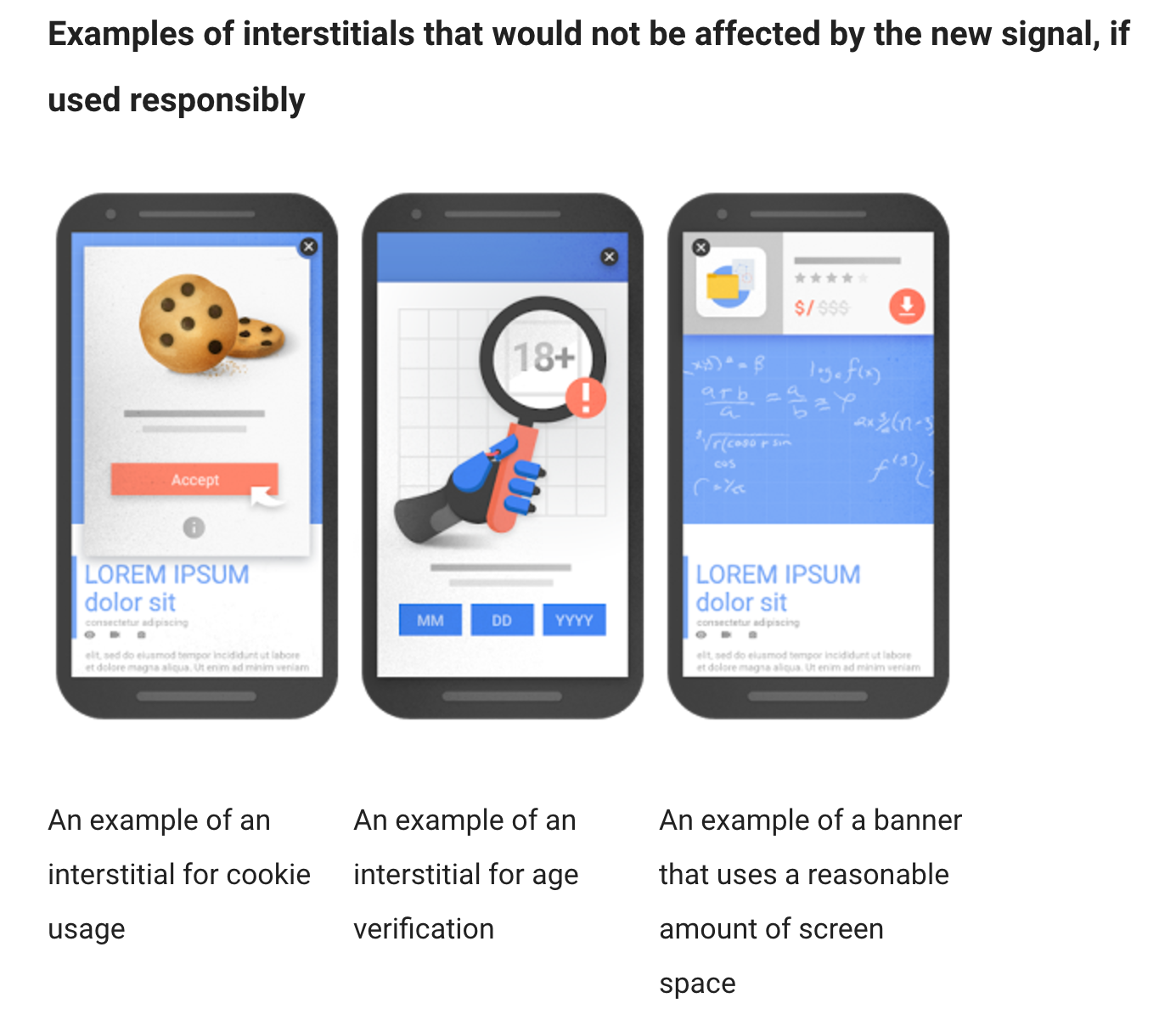 These interstitial ads are A-OK with Google. Note that they each serve a functional purpose.