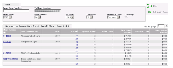 Sage CRM - Accpac Order Entry Sales History
