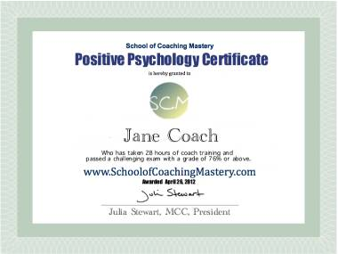 Positive psychology coaching training
