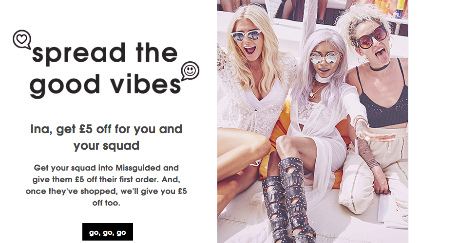 Missguided referral marketing