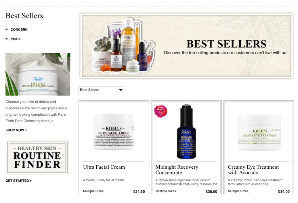 Kiehls website showing best selling items
