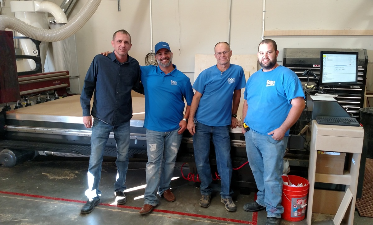 Jody Wilmes of ‎Thermwood‬ with Pete, Chuck and Chris of ‪‎Cabinet Technologies‬ in El Mirage, AZ. and their brand new ‪‎CutReady‬ ‎Cut Center‬.