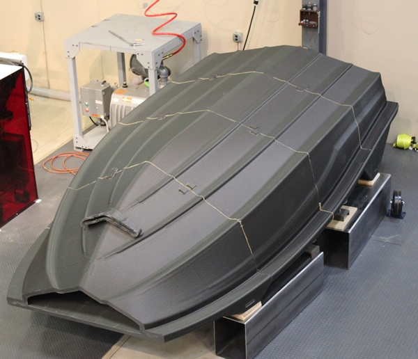 Boat hull pattern after bonding together and before machining