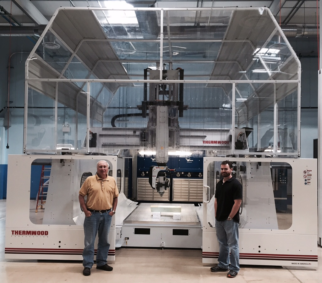 Lenny and Mike with their newly installed Thermwood Model 77 5'x10' 5 Axis CNC Router