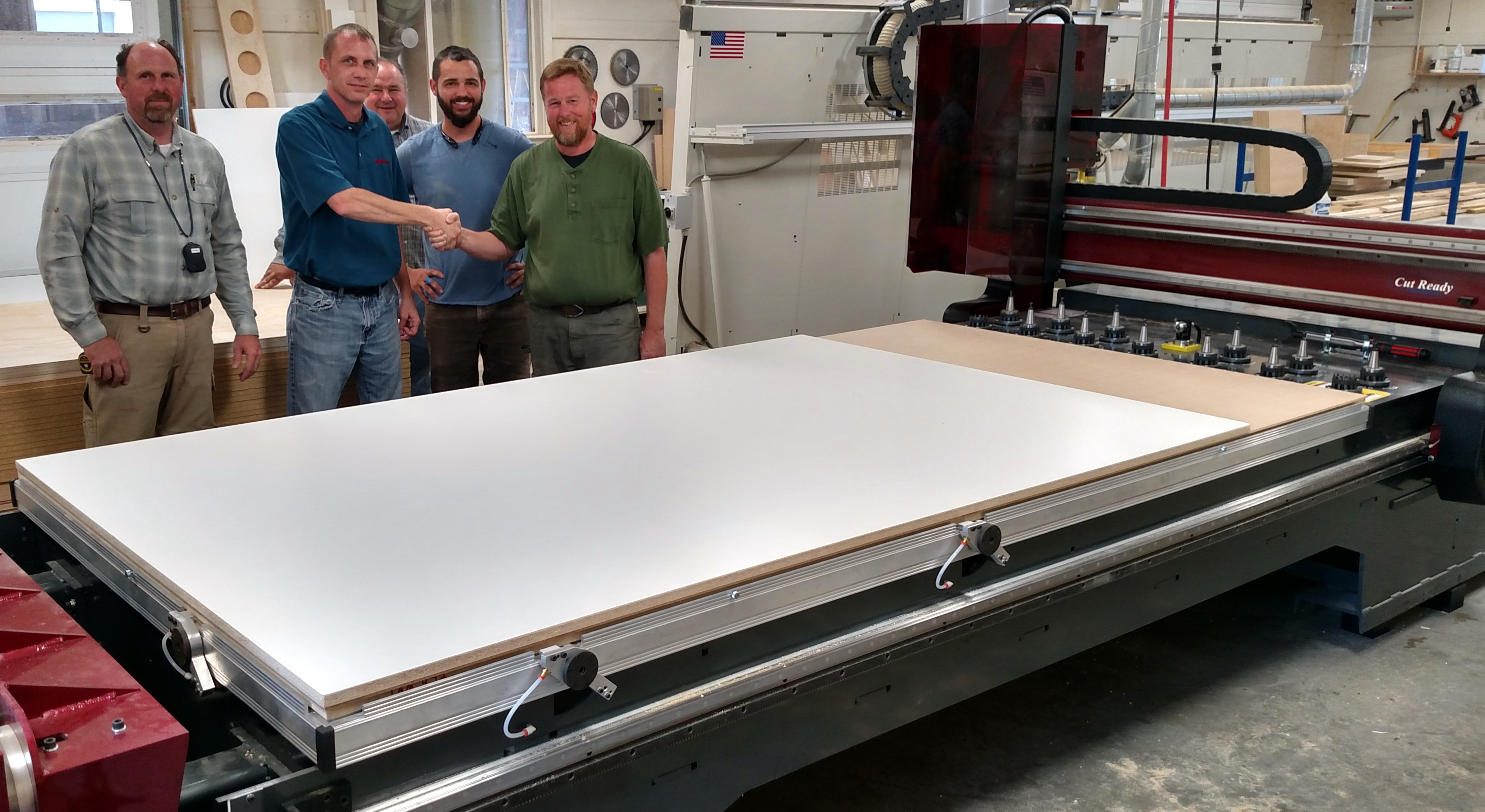 Jody Wilmes and the guys at Original Woodworking with their new Thermwood Cut Center