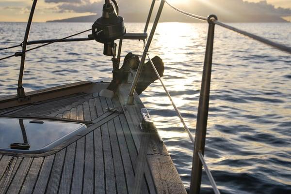 Wooden ship at sea
