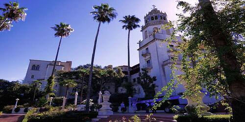hearst castle and palm trees