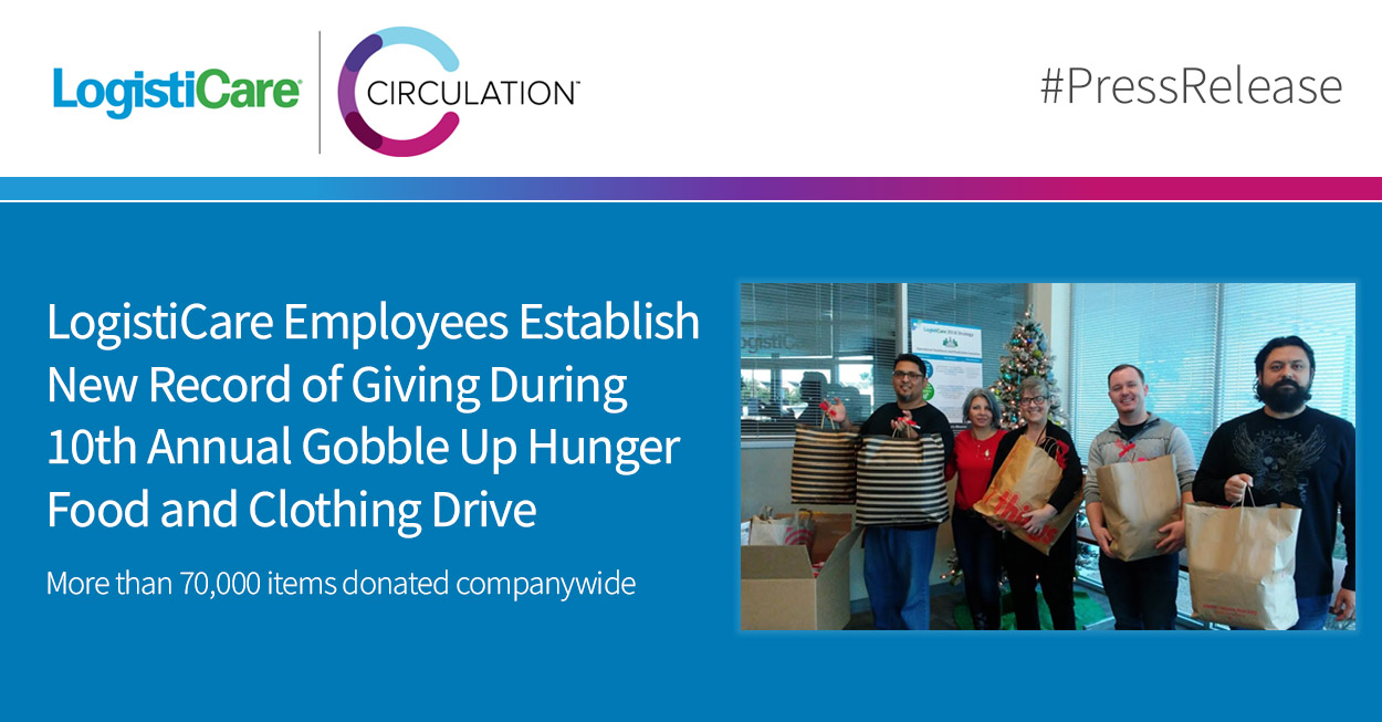 LogistiCare Employees Establish New Record of Giving During 10th Annual Gobble Up Hunger Food and Clothing Drive