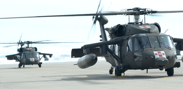 Two Blackhawk Helicopters on the tarmac for simulation scenario