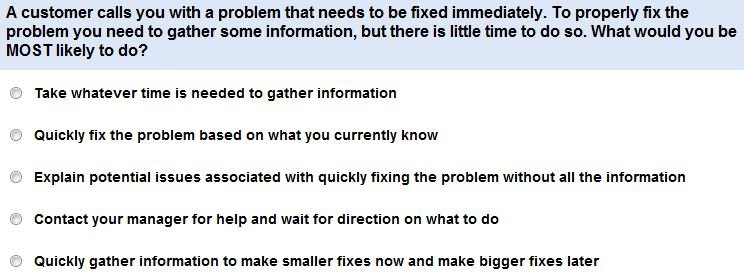 customer service skills test questions