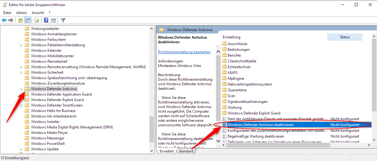 Windows Defender und Third Party AV-Lösungen