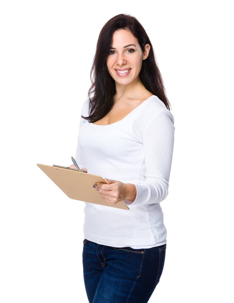 Brunette woman hold with clipboard