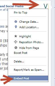 embed facebook posts on your website drop down menu