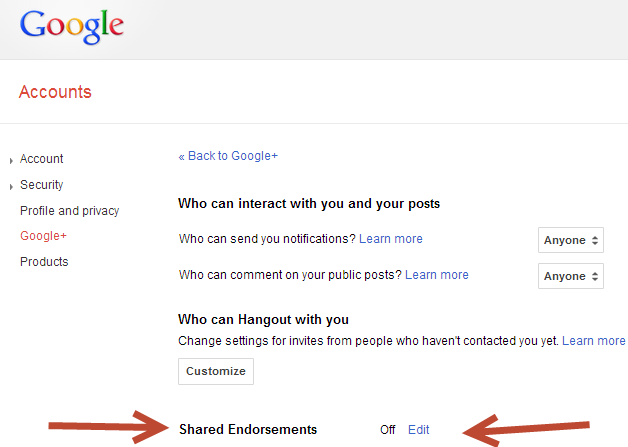 opt out of shared endorsements in google account