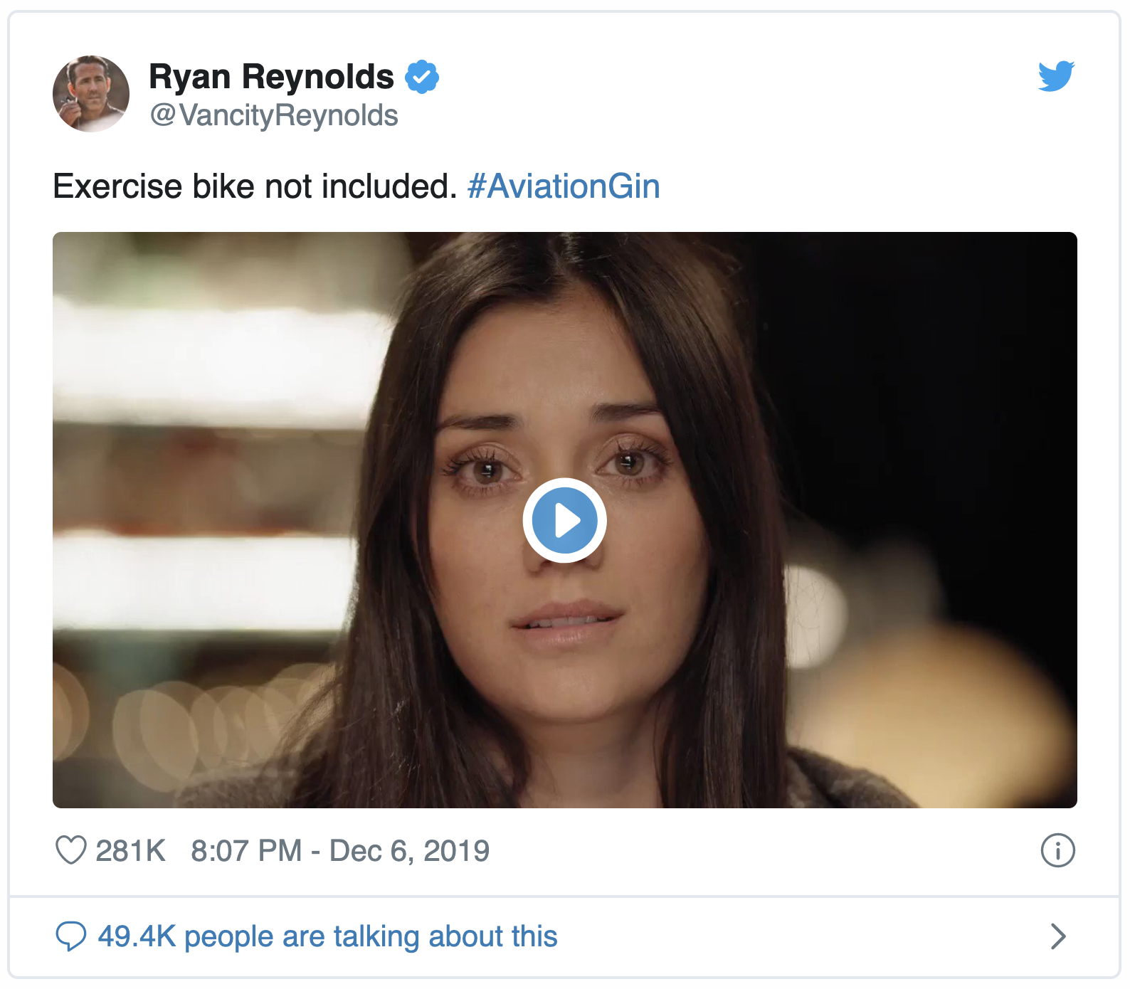 Ryan Reynolds Aviation Gin Peloton Twitter Post