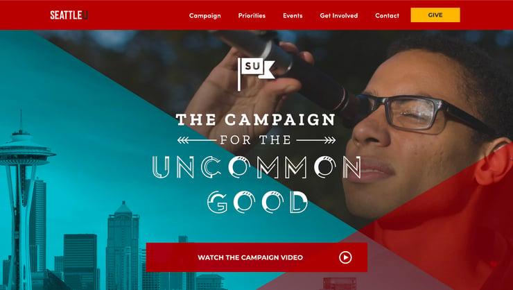 Fundraising Campaign Website Hero SeattleU