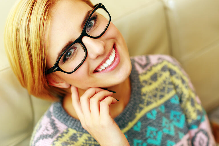 cheerful patient with glasses