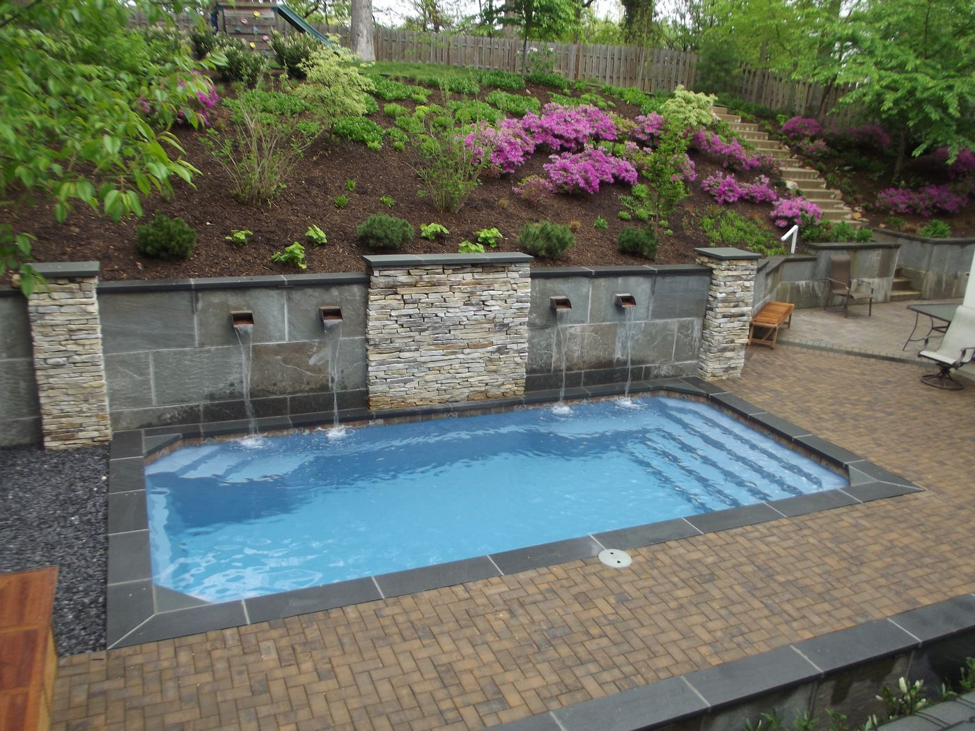 Barrier reef fiberglass pool installed by river pools and spas for Fiberglass above ground pool
